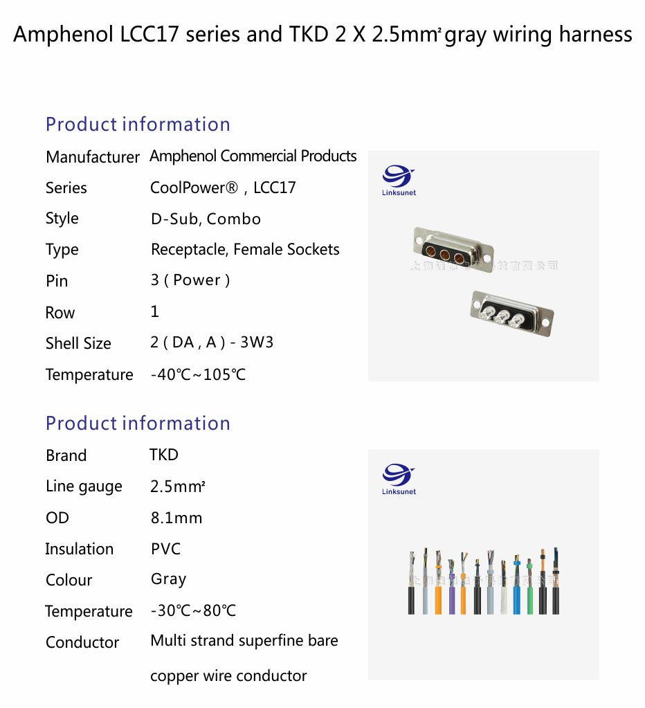 Amphenol Lcc17 Series And Tkd 2 X 25mm2 Gray Wiring Harness Wire Insulation